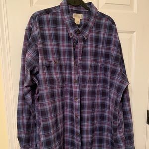Duluth Trading Blue Plaid Flannel Button Down